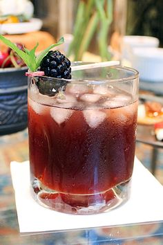 blackberry ginger shrub old fashioned