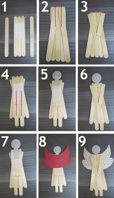 Angels made very easy! M de Maria Ateliê: Outubro 2012 www. - Angels made very easy! M de Maria Ateliê: Outubro 2012 www. Popsicle Stick Christmas Crafts, Popsicle Stick Crafts, Christmas Crafts For Kids, Diy Christmas Ornaments, Homemade Christmas, Craft Stick Crafts, Christmas Angels, Christmas Projects, Holiday Crafts