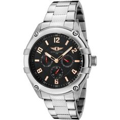 I By Invicta Men's 43659-001 Black Dial Stainless Steel Watch Invicta. $79.99. Water-resistant to 165 feet (50 M). Black textured dial with rose gold-tone hands, hour markers and arabic numerals; luminous. Precise Japanese-quartz movement. 60 second, day and date subdials with red luminous hands. Durable mineral crystal; brushed, polished and textured stainless steel case and bracelet