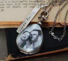 Antique Glass Teardrop Photo Locket Necklace  Custom by SoulPeaces, $79.00