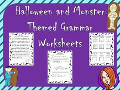 This download includes nine  different worksheets with a Halloween and monster theme. This worksheets cover:- Dictionary work- Spellings - Verbs, nouns and adjectives use and recognition - Past, present and future tense- Speech marks use- Comparatives and superlatives- general punctuation useThanks for looking **************************************************************************My other English products: Persuasive Writing Complete Unit .