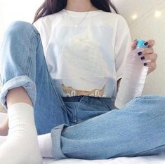 vintage light blue denim high rise boyfriend jeans