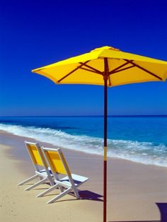 paintings of blue umbrellas | Yellow Chairs and Umbrella on Pristine Beach, Caribbean