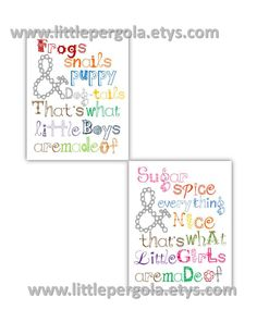 """Frogs and Snails Sugar and Spice 2-11x14"""" Nursery twin prints, great for nursery, or playroom, or as a gift, matches boy or girl decor by LittlePergola on Etsy https://www.etsy.com/listing/159344904/frogs-and-snails-sugar-and-spice-2-11x14"""