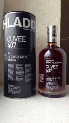 Bruichladdich 21 Jahre alt. Cuvee 407 PX  La Noche Bocca Arriba Single Malt Whisky.46%. 143 Dollar. Unpeated Islay Single Malt Scotch Whisky. Natural Whisky: Distilled.Matured and Bottled. UN-Chill-Filtered and Colouring-Free at Bruichladdich