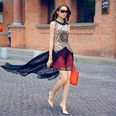 new arrival free shipping women's 2014 summer print sleeveless one-piece dress female one-piece dress $69.90