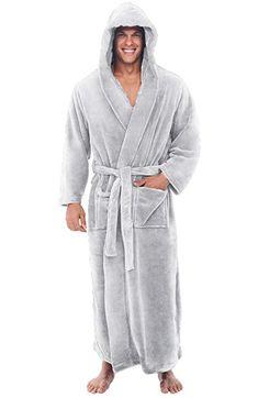 0f39bd8d64 Alexander Del Rossa Mens Fleece Solid Colored Robe