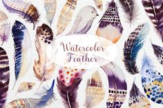 Watercolor BOHO feather DIY II by Peace ART on @creativemarket