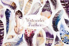 Watercolor BOHO feather DIY II by Peace ART on @creativemarket