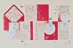 Paper dot wedding invitation stationery