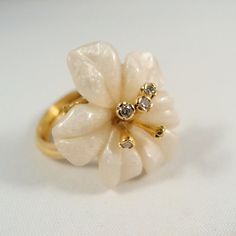 Gorgeous solid gold and diamond flower ring by MidwestArtObjects