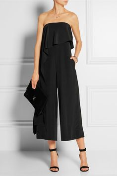 Black silk Concealed buttons, hook and zip fastening at side silk Dry clean Large to size. See Size & Fit notes. Mode Monochrome, Beautiful Outfits, Cute Outfits, Silk Jumpsuit, Estilo Fashion, Mode Inspiration, Short, Passion For Fashion, Smoking
