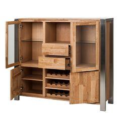 Wijnbar Noah - massief eikenhout/geborsteld roestvrij staal