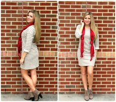 Neutral sweater dresses with a  pop of color should be a part of every wardrobe!