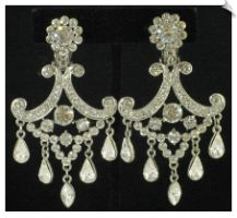 Vintage Style Silvertone Chnadelier Clip On Earrings Accented with Clear Rhinestones $38 @ www.whimzgirlclipearrings.com