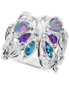 Multi-Gemstone Butterfly Statement Ring (2-1/5 ct. t.w.) in Sterling Silver - Multi