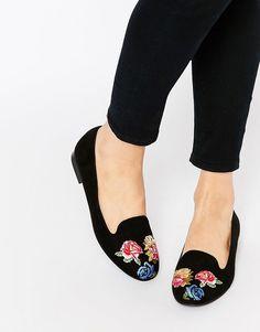 Image 1 ofASOS MYLO Embroidered Flat Shoes