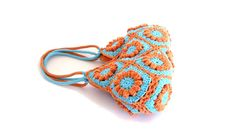 Flower crochet purse in turquoise and orange knitting by zolayka, $85.00
