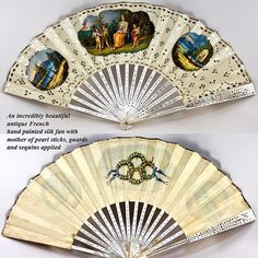 Antique French Hand Painted Silk Fan With Mother-Of-Pearl Sticks, Guards and Sequins