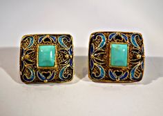 Vintage Chinese Enamel and Turquoise Silver by Topcatvintage