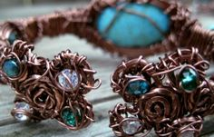 """Hand-Formed Artwear Cuff Bracelet (rear view).    Materials: Real Turquiose & Swarovski Crystals """"Entwined"""" with Copper."""