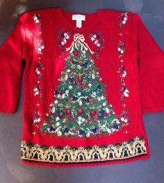 Casual Corner Ugly Christmas Sweater Petite Medium PM Embellished Tunic Length #CasualCorner #Crewneck