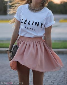"Love the mixture of a fuller skirt with a graphic/text tee. Gives off a very, ""I didn't really care too much this morning, but yes, I still look great"" kind of vibe."