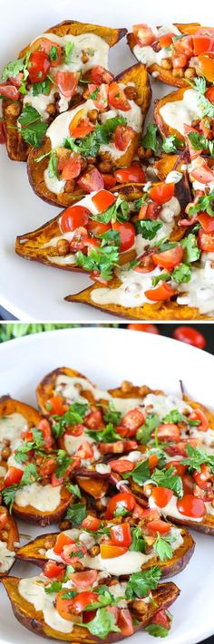 Tolle kalorienarme Snack Idee - Bruschetta aus Süsskartoffeln - perfekte Beilage zum Grillern für Vegetarier *** Mediterranean  Baked Sweet Potatoes: a fresh, zippy, sweet-and-tangy recipe for sweet potatoes - perfect veggie BBQ side dish