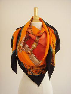 Hermes Harnais De Cour Shawl Orange Cashmere