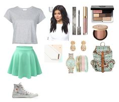 School Days #24 by jaydengonz on Polyvore featuring polyvore, fashion, style, RE/DONE, LE3NO, Converse, Jessica Carlyle, Lisa Angel, Mossimo Supply Co., Bobbi Brown Cosmetics, Burberry, Too Faced Cosmetics, Stila and clothing