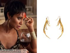 Fish Mooney (Jada Pinkett Smith) wears these gold and white long drop earrings in this week's episode of Gotham. They are the K/LLER Bionic Brass Quill Earring White. Buy it HERE for $194