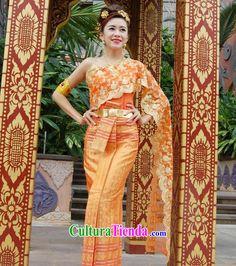 Nacional tradicional tailandés tailandés tradicional vestido vestido vestido de boda vestidos para la venta online ropa vestidos de Tailandia Tailandia conjunto completo para las mujeres niñas niños jóvenes adultos
