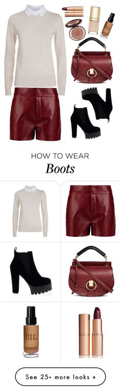 """""""Chloe leather shorts"""" by thestyleartisan on Polyvore featuring See by Chloé, Chloé, Dolce&Gabbana, Charlotte Tilbury, Bobbi Brown Cosmetics and winterboots"""
