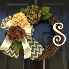 Items similar to Spring/summer monogram wreath, hydrangea wreath, summer wreaths, personalized wreath, door wreath on Etsy Letter Wreath, Monogram Wreath, Spring Door Wreaths, Summer Wreath, Etsy Wreaths, Outdoor Wreaths, Hydrangea Wreath, Spring Summer, Summer 2015