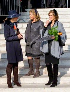 (R-L) Princess Esmeralda, Princess Lea and Princess Claire of Belgium at the mass to commemorate the deceased members of the Belgian Royal Family, at the cathedral in Laeken, Brussels, Belgium, 12.02.2015
