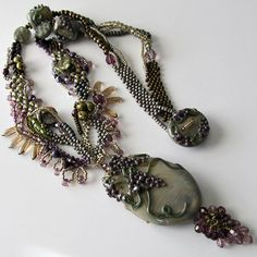 Lampwork Necklace Grapes Vineyard Pendant by PacificJewelryDesign