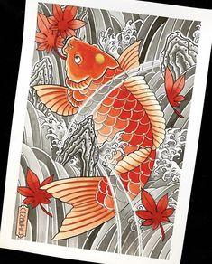 Koi Dragon Tattoo, Tattoo Apprenticeship, Japanese Koi, Tattoo Ideas, Fish, Tattoos, Carp, Tatuajes, Pisces