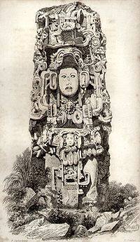 """Stele N from Copán, Honduras, depicting King K'ac Yipyaj Chan K'awiil (""""Smoke Shell""""), as drawn by Frederick Catherwood in 1839 Tikal, Ancient Aliens, Ancient Art, Ancient Greek, Wicca, Maya Civilization, Archaeological Discoveries, Ancient Mysteries, Mayan Ruins"""