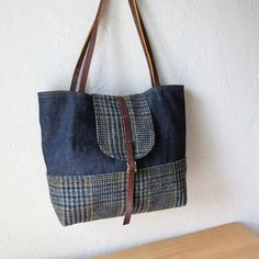 Items similar to 2-Tone Tote in Hemp Denim and Wool on Etsy