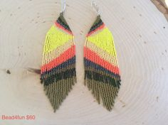 Seed Beaded Earrings Ear Art In yellows olive gunmetal by Bead4Fun - p