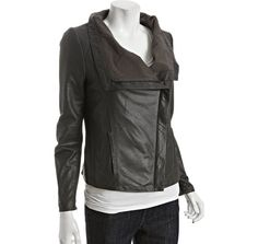 "Investment items: ""Cleancut leather jacket""  ($306.00 - Elie Tahari tusk lamb leather 'Virgina' wide collar asymmetrical jacket)"