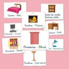 Fichas para repasar el vocabulario básico en castellano e #inglés. Hoy os dejamos fichas del dormitorio para practicar vocabulario
