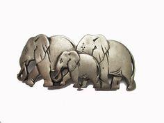 Elephant Hair clip barrette pewter metal by Serendipityfindings on Etsy