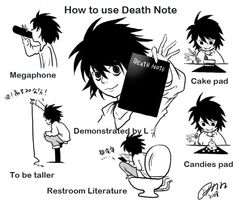 How L uses Death Note by tinling - Death Records Death Note デスノート, Death Note Funny, Death Note Fanart, Death Note Near, Manga, Amane Misa, Otaku, Nate River, Detective