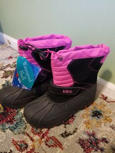 TOTES KIDS GIRLS WINTER// SNOW BOOTS JOSIE BLACK /& PINK SIZE 4