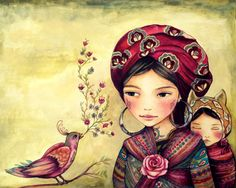 Mother and daughter with bird singing art print by claudiatremblay