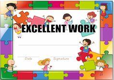 Certificate with children jigsaw border 스톡 콘텐츠 - 39769620 Art School, School Craft, Certificate Templates, Art Activities, Children, Kids, Family Guy, Names, English