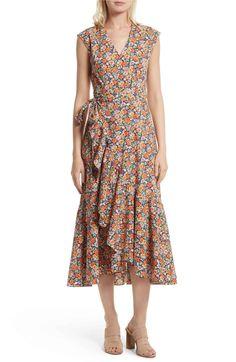 Main Image - Rebecca Taylor Moonlight Print Poplin Ruffle Wrap Dress