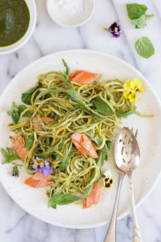 Wild Salmon with Zucchini Noodles, Baby Leaves and a Basil Dressing - Autoimmune Paleo