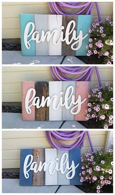 DIY Family Word Art Sign Woodworking Project Tutorial - 3 color schemes of New W. DIY Family Word Art Sign Woodworking Project Tutorial - 3 color schemes of New Wood Distressed to look like weathered Barn Wood Home Decorat. Diy Home Decor Rustic, Home Decor Signs, Easy Home Decor, Diy Signs, Handmade Home Decor, Country Decor, Dyi Wood Signs, Wood Name Sign, Family Wood Signs